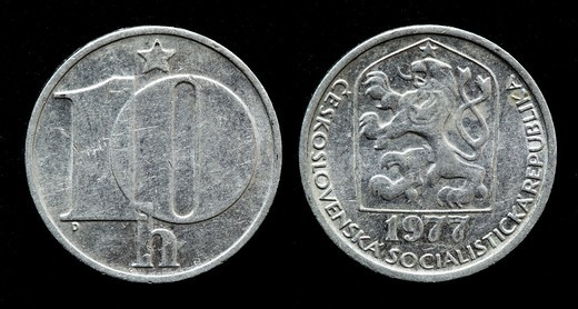 10 Haleru coin, Czechoslovakia, 1977 : Stock Photo