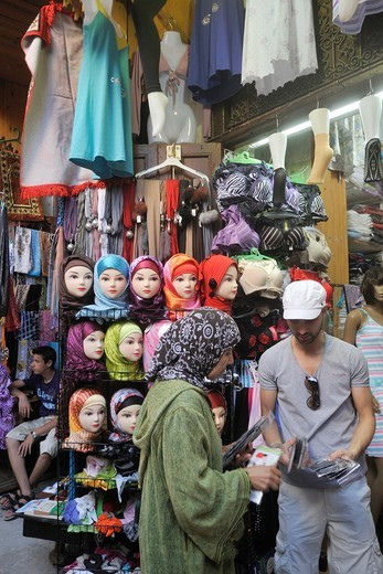 Stock Photo: 1566-916048 scarf, veil, and hijab shop, medina, Fes, Morocco, North Africa