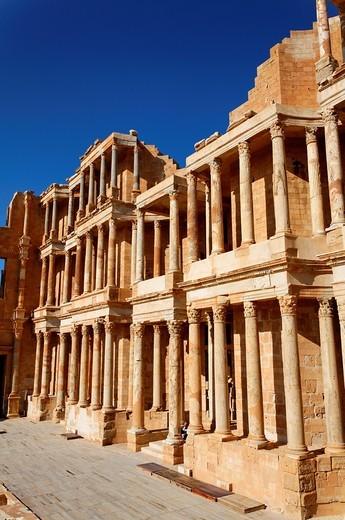 Stock Photo: 1566-916210 The Roman theatre at Sabratha, Libya
