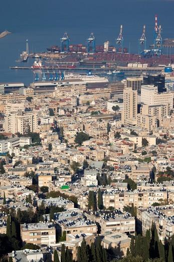 Stock Photo: 1566-916270 Israel, North Coast, Haifa, elevated view of city and Haifa Port from Carmel Center, late afternoon