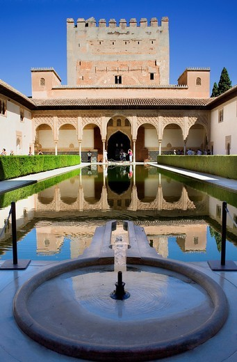 Stock Photo: 1566-916773 'Patio de los Arrayanes', Courtyard of the Myrtles, Comares Palace, Nazaries palaces, Alhambra, Granada, Andalusia, Spain