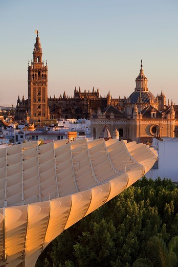 Stock Photo: 1566-916775 Top of Metropol Parasol and the cathedral,from Plaza de la Encarnación,Sevilla,Andalucía,Spain