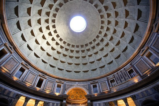 Interior of the Pantheon´s dome, Rome, Italy : Stock Photo