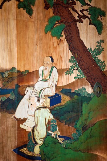 A painting on a sliding door inside the Imperial Palace : Stock Photo