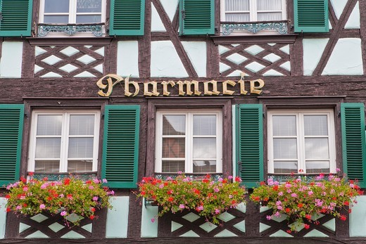 Close up of a timbered house housing the pharmacy, Obernai, Alsace, France, Europe : Stock Photo