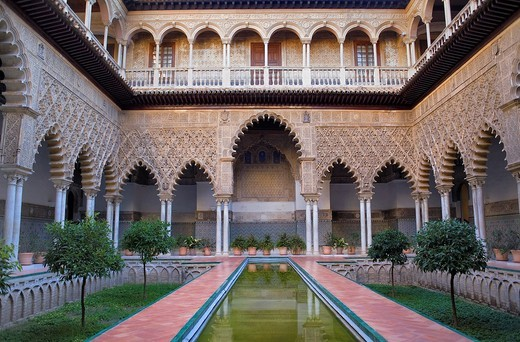 Stock Photo: 1566-917134 Royal Alcazar,'Patio de las Doncellas', Courtyard of the maidens, Seville, Andalusia, Spain