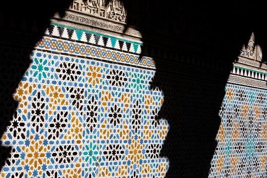 Royal Alcazar, tiles, mosaic, detail of 'Patio de las Doncellas', Courtyard of the maidens, Seville, Andalusia, Spain : Stock Photo