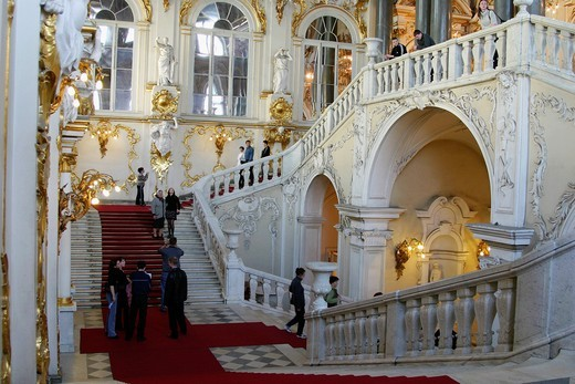 The staircase of the Hermitage museum, Saint Petersburg, Russia : Stock Photo