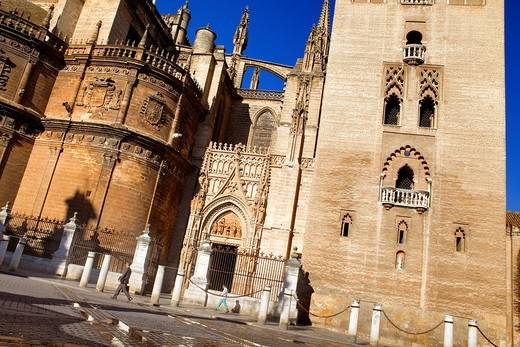 Stock Photo: 1566-917490 Cathedral from Plaza Virgen de los Reyes,Sevilla,Andalucía,Spain