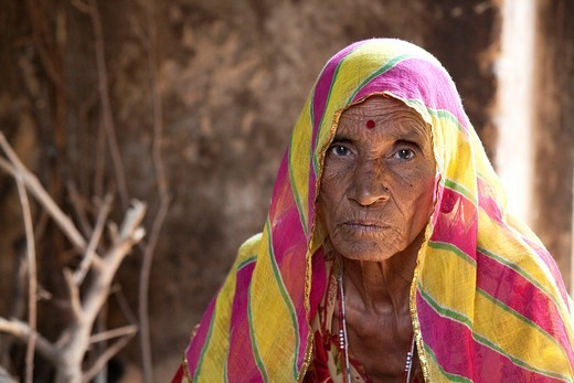 Mature woman in her home - Shyampura Village, Rajasthan, India : Stock Photo