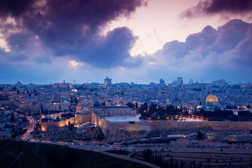Israel, Jerusalem, elevated city view with Temple Mount and Dome of the Rock from the Mount of Olives, dusk : Stock Photo