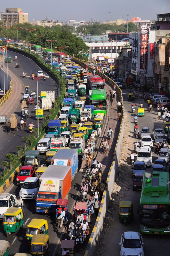 Heavy traffic in New Delhi : Stock Photo