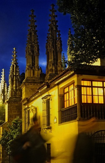 pinnacles of the cathedral in Oficios street Granada  Andalucia, Spain : Stock Photo