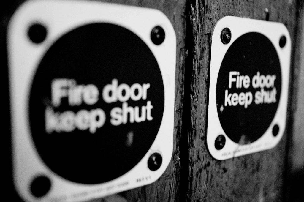 Fire door. London : Stock Photo