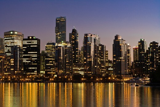 Vancouver skyline at night, British Columbia, Canada : Stock Photo