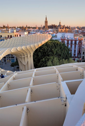 Top of Metropol Parasol, in background the cathedral,from Plaza de la Encarnación,Sevilla,Andalucía,Spain : Stock Photo