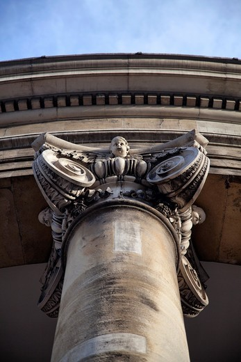 Pillar with Cherub on Capital - All souls Church in Langham Place - London - UK : Stock Photo