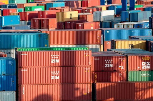 Containers at the port side, Odessa, Ukraine : Stock Photo