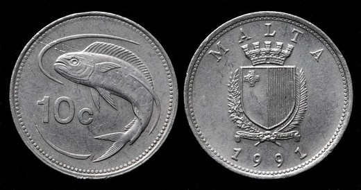 10 cents coin, Malta, 1991 : Stock Photo