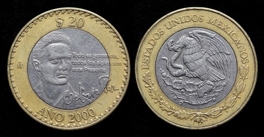 20 pesos coin, Mexico, 2000 : Stock Photo