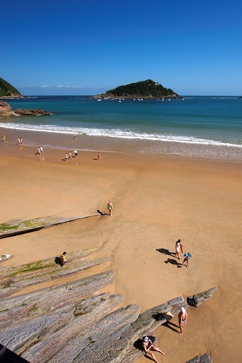 La Concha Beach, Santa Clara Island, San Sebastián, Donostia, Guipuzcoa, Basque Country, Spain : Stock Photo