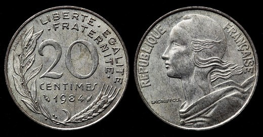 Stock Photo: 1566-920507 20 centimes coin, France, 1984
