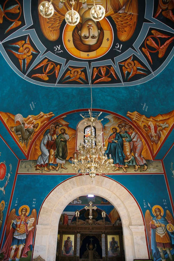 Stock Photo: 1566-920714 Interior of the Greek Orthodox Church of St John the Baptist in Bethany baptism site  Jordan