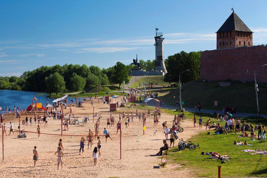 Russia, Novgorod Oblast, Veliky Novgorod, Volkhov River, Sofiyevski Beach : Stock Photo