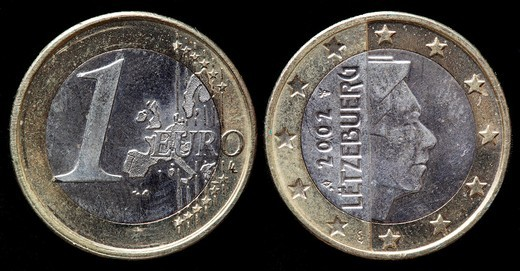 Stock Photo: 1566-921215 1 Euro coin, Luxembourg, 2002
