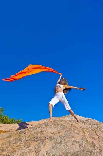 Woman doing yoga, South Valley Park, Littleton, Colorado USA : Stock Photo