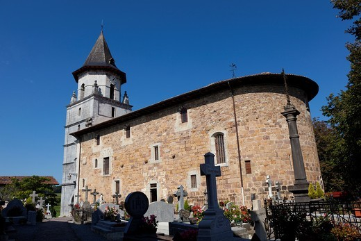 Church of Ainhoa, Aquitaine, France : Stock Photo