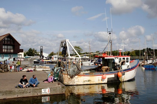Stock Photo: 1566-922106 Fishing boat at Lymington harbour Hampshire