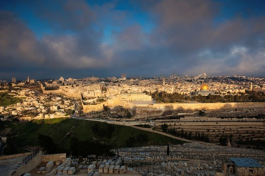 Israel, Jerusalem, elevated city view with Temple Mount and Dome of the Rock from the Mount of Olives, dawn : Stock Photo
