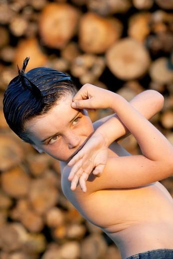 Boy practicing karate : Stock Photo