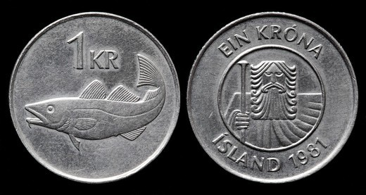 1 Krona coin, Iceland, 1981 : Stock Photo