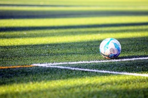 Soccer ball 11 on the football field : Stock Photo