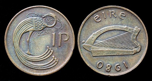Stock Photo: 1566-923049 1 Penny coin, Ireland, 1980