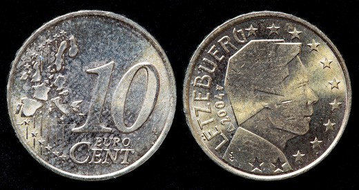 10 Euro cent coin, Luxembourg, 2004 : Stock Photo