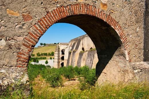 Stock Photo: 1566-923084 Elvas, Amoreira Aqueduct, Detail, Alentejo, Portugal
