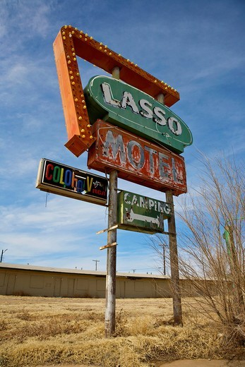 Stock Photo: 1566-923153 Sign from the old Lasso Motel in Tucumcari, New Mexico along old Route 66