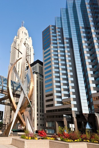 Stock Photo: 1566-923281 Intersect, a bronze and stainless steel sculpture at the corner of Broad and High Streets in Columbus, Ohio