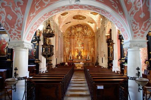 Baroque interior of the Crkva sv  Katarine  Church St  Catherine   Painting above altar by Andrew Jelovšek  Gradec , Zagreb, Croatia : Stock Photo