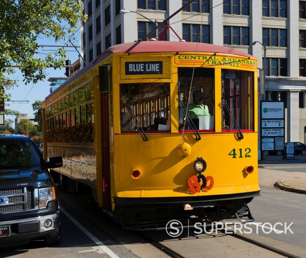 Stock Photo: 1566-923606 River Rail Streetcar in downtown Little Rock, Arkansas, USA