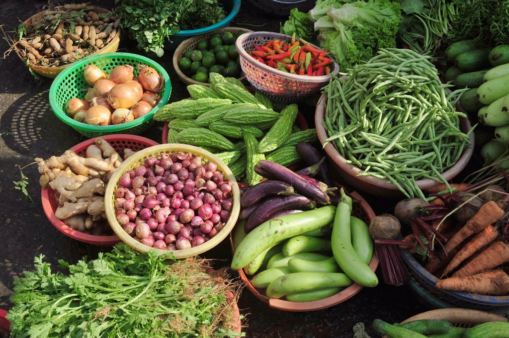 Asia,South East Asia,Vietnam,view of fresh vegetables on sale at Can Tho market,South Vietnam : Stock Photo