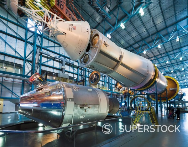 Stock Photo: 1566-923928 Saturn V rocket from the Apollo moon program with the Command Service Module below, Saturn V complex, Kennedy Space Center, Cape Canaveral, Florida, USA