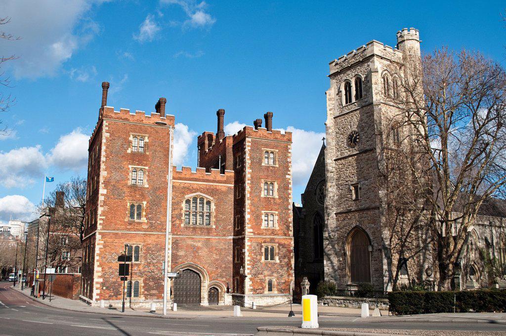 Stock Photo: 1566-924700 Lambeth Palace and Lollards´ Tower, London, UK