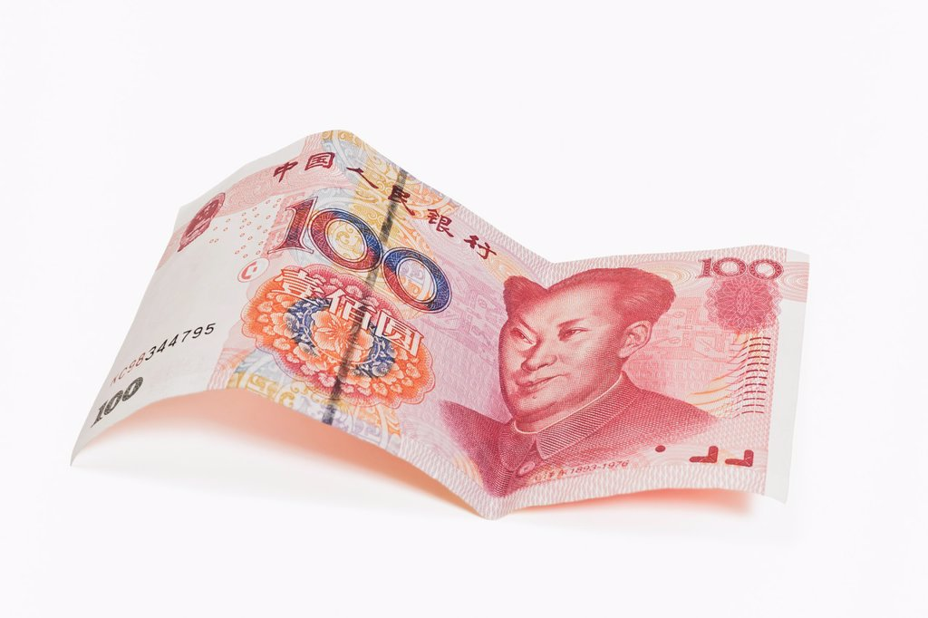 Stock Photo: 1566-925015 100 yuan bill with the portrait of Mao Zedong The renminbi, the Chinese currency, was introduced in 1949 after the founding of the People´s Republic of China China, Asia