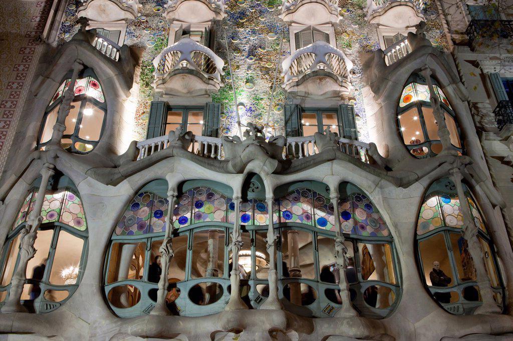 Stock Photo: 1566-925564 Casa Batllo from Antoni Gaudi architect, Barcelona, Spain