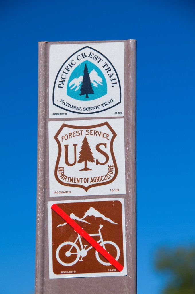 Stock Photo: 1566-926216 Pacific Crest Trail sign in Cottonwood Valley, Cleveland National Forest, California