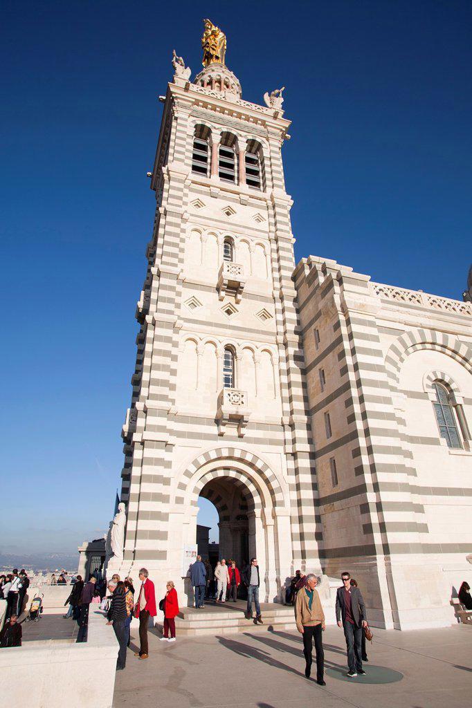 notre dame de la garde, basilica, marseille, provence, france, europe : Stock Photo